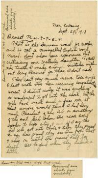 Letter From Eleanor Blair, Wellesley, Massachusetts, to Mrs. D.C. Blair, Montour Falls, New York, 1913 September 29
