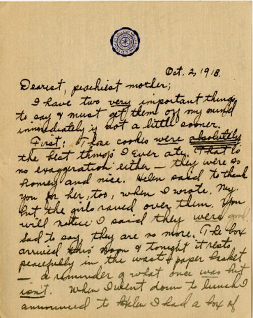 Letter from Eleanor Blair, Wellesley, Massachusetts , to Mrs. D.C. Blair, Montour Falls, New York, 1913 October 2