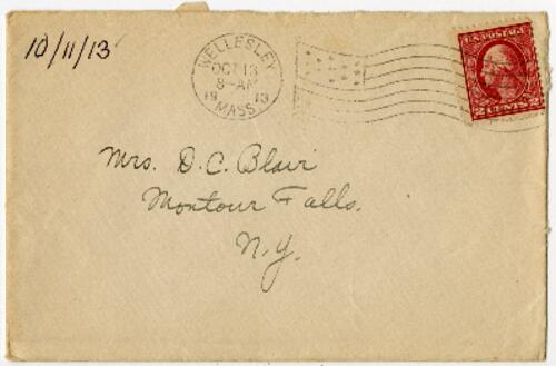 Letter from Eleanor Blair, Wellesley, Massachusetts, to Mrs. D.C. Blair, Montour Falls, New York, 1913 October 11