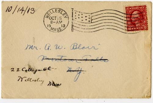 Letter from Eleanor Blair, Wellesley, Massachusetts, to Mr. A.W. Blair, Montour Falls, New York, 1913 October 14