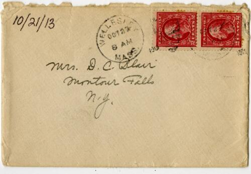 Letter from Eleanor Blair, Wellesley, Massachusetts, to Mrs. D.C. Blair, Montour Falls, New York, 1913 October 21