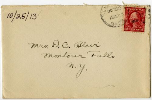 Letter from Eleanor Blair, Wellesley, Massachusetts, to Mrs. D.C. Blair, Montour Falls, New York, 1913 October 25