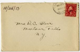 Letter from Eleanor Blair, Wellesley, Massachusetts, to Mrs. D.C. Blair, Montour Falls, New York, 1913 October 25