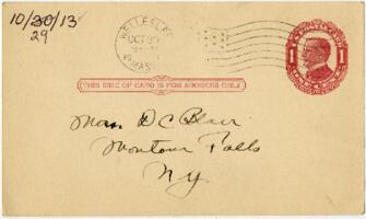 Postcard from Eleanor Blair, Wellesley, Massachusetts, to Mrs. D.C. Blair, Montour Falls, New York, 1913 October 29