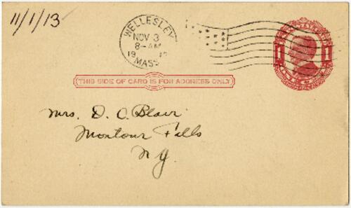 Postcard from Eleanor Blair, Wellesley, Massachusetts, to Mrs. D.C. Blair, Montour Falls, New York, 1913 November 1