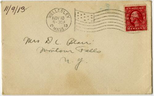 Letter from Eleanor Blair, Wellesley, Massachusetts, to Mrs. D.C. Blair, Montour Falls, New York, 1913 November 9