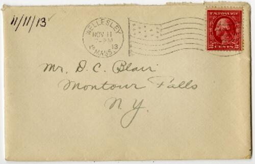 Letter from Eleanor Blair, Wellesley, Massachusetts, to Mr. D.C. Blair, Montour Falls, New York, 1913 November 11