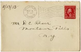 Letter from Eleanor Blair, Wellesley, Massachusetts, to Mr. D.C. Blair, Montour Falls, New York, 1913 November 13