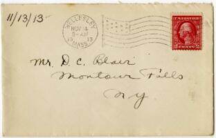 Letter from Eleanor Blair, Wellesley, Massachusetts, to Mr. D.C. Blair, Montour Falls, New York, 1913 November 13