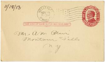 Postcard from Eleanor Blair, Wellesley, Massachusetts, to Mr. A.W. Blair, Montour Falls, New York, 1913 November 18