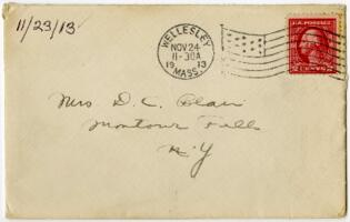 Letter from Eleanor Blair, Wellesley, Massachusetts, to Mrs. D.C. Blair, Montour Falls, New York, 1913 November 23