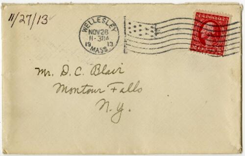 Letter from Eleanor Blair, Wellesley, Massachusetts, to Mr. D.C. Blair, Montour Falls, New York, 1913 November 27