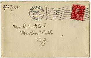 Letter from Eleanor Blair, Wellesley, Massachusetts, to Mr. D.C. Blair, Montour Falls, New York, 1913 November 27