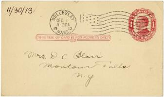 Postcard from Eleanor Blair, Wellesley, Massachusetts, to Mrs. D.C. Blair, Montour Falls, New York, 1913 November 30