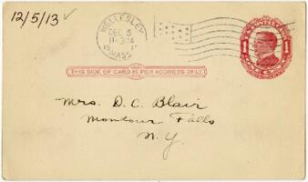 Postcard from Eleanor Blair, Wellesley, Massachusetts, to Mrs. D.C. Blair, Montour Falls, New York, 1913 December 5