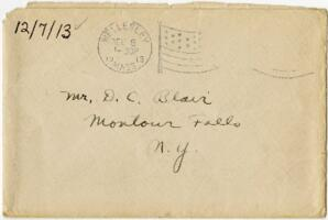 Letter from Eleanor Blair, Wellesley, Massachusetts, to Mr. D.C. Blair, Montour Falls, New York, 1913 December 7