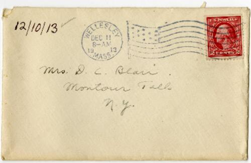 Letter from Eleanor Blair, Wellesley, Massachusetts, to Mrs. D.C. Blair, Montour Falls, New York, 1913 December 10