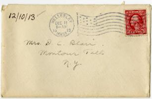 Letter from Eleanor Blair, Wellesley, Massachusetts, to Mrs. D.C. Blair, Montour Falls, New York, 1913 December 10