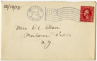 Letter from Eleanor Blair, Wellesley, Massachusetts, to Mrs. D.C. Blair, Montour Falls, New York, 1913 December 14