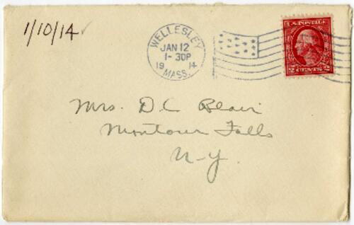 Letter From Eleanor Blair, Wellesley, Massachusetts, to Mrs. D.C. Blair, Montour Falls, New York, 1914 January 10
