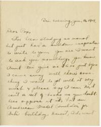 Letter from Eleanor Blair, Wellesley, Massachusetts, to Mr D.C. Blair, Montour Falls, New York, 1914 January 16