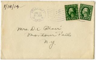 Letter from Eleanor Blair, Wellesley, Massachusetts, to Mrs. D.C. Blair, Montour Falls, New York, 1914 January 18