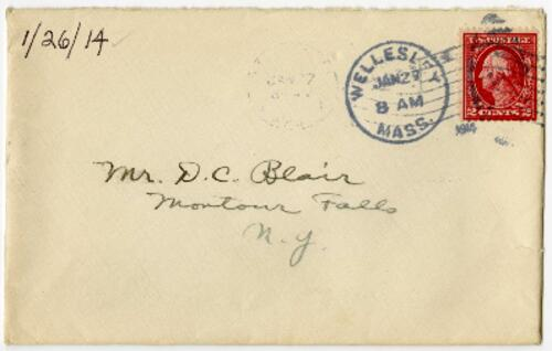 Letter from Eleanor Blair, Wellesley, Massachusetts , to Mr. D.C. Blair, Montour Falls, New York, 1914 January 26