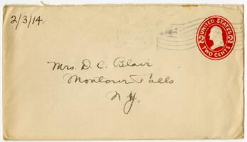Letter From Eleanor Blair, Wellesley, Massachusetts, to Mrs. D.C. Blair, Montour Falls, New York, 1914 February 3