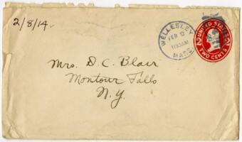 Letter from Eleanor Blair, Wellesley, Massachusetts, to Mrs. D.C. Blair, Montour Falls, New York, 1914 February 8