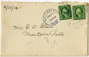 Letter from Eleanor Blair, Wellesley, Massachusetts, to Mrs. D.C. Blair, Montour Falls, New York, 1914 February 10