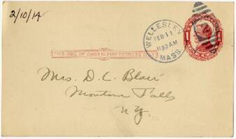 Postcard from Eleanor Blair, Wellesley, Massachusetts, to Mrs. D.C. Blair, Montour Falls, New York, 1914 February 10