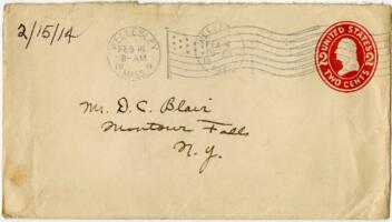 Letter from Eleanor Blair, Wellesley, Massachusetts, to Mrs. D.C. Blair, Montour Falls, New York, 1914 February 15