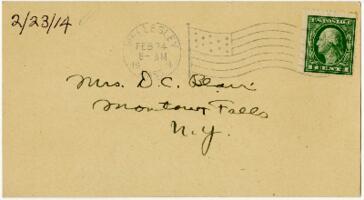 Postcard from Eleanor Blair, Wellesley, Massachusetts, to Mrs. D.C. Blair, Montour Falls, New York, 1914 February 23