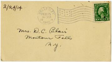 Postcard from Eleanor Blair, Wellesley, Massachusetts, to Mrs. D.C. Blair, Montour Falls, New York, 1914 February 24