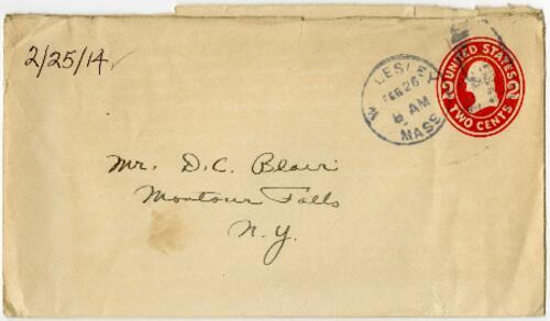 Letter from Eleanor Blair, Wellesley, Massachusetts, to Mr. D.C. Blair, Montour Falls, New York, 1914 February 25