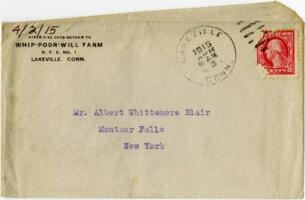 Letter from Eleanor Blair, Lakeville, Connecticut, to Mr. A.W. Blair, Montour Falls, New York, 1915 April 2