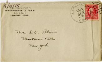Letter from Eleanor Blair, Lakeville, Connecticut, to Mr. D.C. Blair, Montour Falls, New York, 1915 April 3