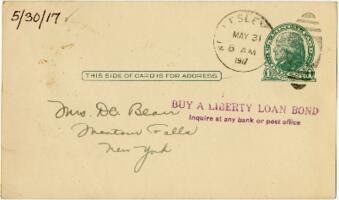 Postcard from Eleanor Blair, Wellesley, Massachusetts, to Mrs. D.C. Blair, Montour Falls, New York, 1917 May 30