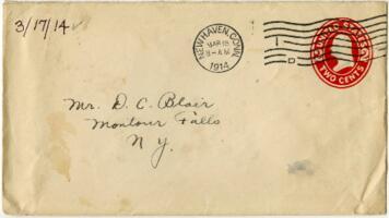 Letter from Eleanor Blair, West Haven, Connecticut, to Mr. D.C. Blair, Montour Falls, New York, 1914 March 17