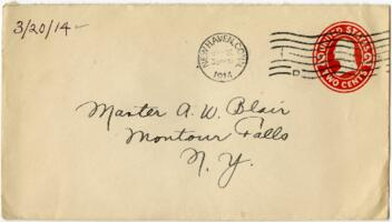 Letter from Eleanor Blair, New Haven, Connecticut, to Mr. A.W. Blair, Montour Falls, New York, 1914 March 20