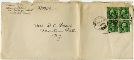 Letter from Eleanor Blair, West Haven, Connecticut, to Mrs. D.C. Blair, Montour Falls, New York, 1914 March 22