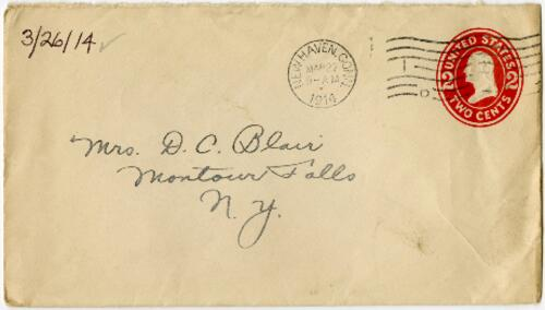 Letter from Eleanor Blair, West Haven, Connecticut, to Mrs. D.C. Blair, Montour Falls, New York, 1914 March 26