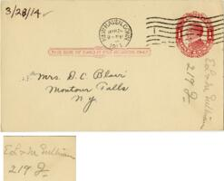 Postcard from Eleanor Blair, New Haven, Connecticut, to Mrs. D.C. Blair, Montour Falls, New York, 1914 March 28