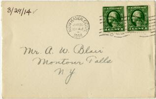 Letter from Eleanor Blair, New Haven, Connecticut, to Mr. A.W. Blair, Montour Falls, New York, 1914 March 29