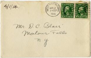 Letter from Eleanor Blair, West Haven, Connecticut, to Mr. D.C. Blair, Montour Falls, New York, 1914 April 1