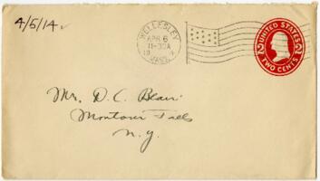 Letter from Eleanor Blair, Wellesley, Massachusetts, to Mrs. D.C. Blair, Montour Falls, New York, 1914 April 5