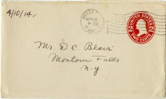 Letter from Eleanor Blair, Wellesley, Massachusetts, to Mr. D.C. Blair, Montour Falls, New York, 1914 April 10