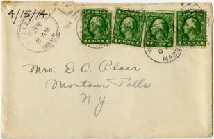 Letter from Eleanor Blair, Wellesley, Massachusetts, to Mrs. D.C. Blair, Montour Falls, New York, 1914 April 15