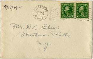 Letter from Eleanor Blair, Wellesley, Massachusetts, to Mr. D.C. Blair, Montour Falls, New York, 1914 April 19