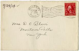Letter from Eleanor Blair, Wellesley, Massachusetts, to Mrs. D.C. Blair, Montour Falls, New York, 1914 September 28